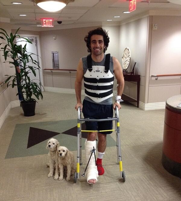 Franchitti leaving hospital (Photo via @TCGRTeams Twitter)