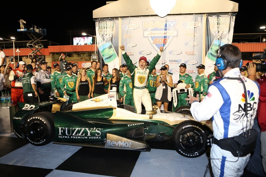 Carpenter and crew in victory lane last year (Ed Carpenter Racing)