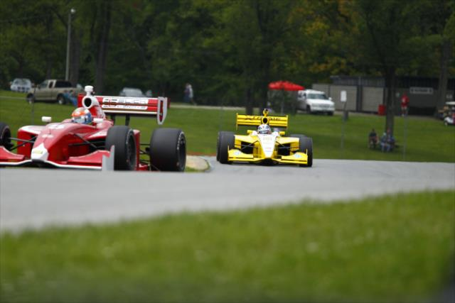 Dempsey (leading) and Garcia (trailing) trade rides. (IndyCar photo)