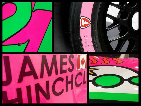 A tease of Hinch's pink car (Firestone Racing)
