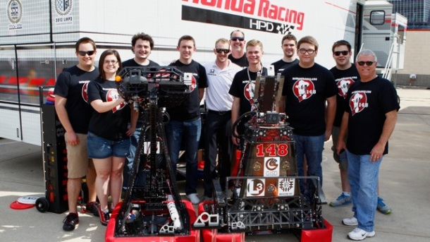 """Kimball with the """"Robowranglers"""" in Texas (LAT photo)"""