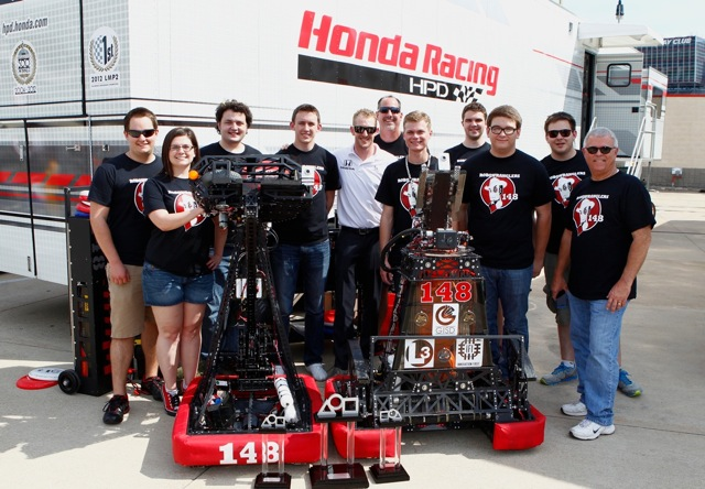 "Kimball with the ""Robowranglers"" in Texas (LAT photo)"