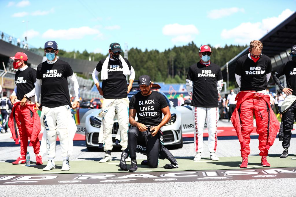 Led by six-time series champion Lewis Hamilton, 14 Formula One drivers took a knee Sunday before the season-opening Austrian Grand Prix. Hamilton, the
